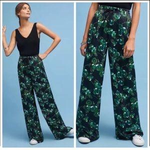 Elevenses Anthropology Silky Leaf Print pants 6
